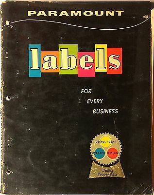 Vintage Paramount Business Labels Catalog & Samples #A-1 1950s Midcentury