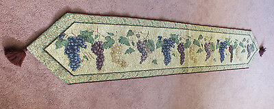 "Collectible Tapestry Table Linen 70 x 12 1/2"" + 3"" Tassels Grape Design WOW"