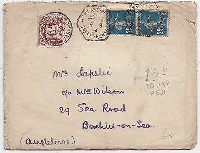 1924 FRANCE HOTEL COVER & LETTER 1½d GB POSTAGE DUE STAMP BEXHILL ON SEA SUSSEX