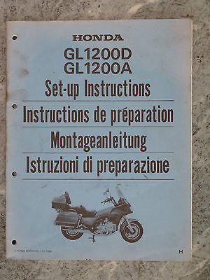 Honda Fl1200D Gl1200A Gl1200 D A 1986 H Set-Up Instructions Manual