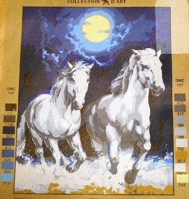 2 HORSES SPLASHING IN THE MOONLIGHT - Tapestry Canvas (New) Collection D'Art