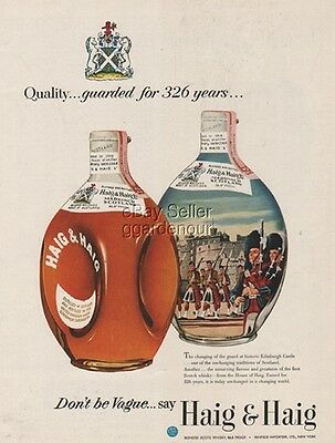 1953 Haig Scotch~Changing of the Guard Edinburgh Castle ~Markinch Scotland Ad