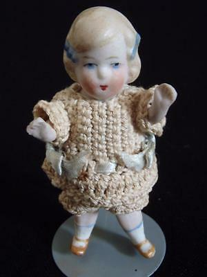 "All Original Antique German Mignonette All Bisque doll 3.25"" tall"