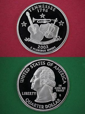 Silver 2002-S Tennessee Proof State Quarter Deep Cameo Flat Rate Shipping