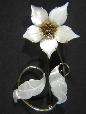Ocean Treasures Gold on Sterling Carved Mother of Pearl Flower Large PIN Brooch
