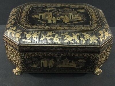 Antique 1800's Chinese Export Black Gilt Lacquer SEWING Octagonal BOX & Tools