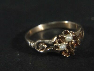 Victorian 14K Rose Gold 4 Pearl & Stone RING size 5-3/4 TBR