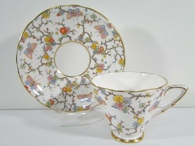 Vintage Royal Stafford Bone China Chintz CUP & SAUCER Butterfly Enamel Decorated