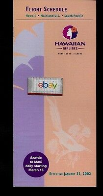 Hawaiian Airlines 1-31-2002 System Timetable New Service Seattle-Maui Service