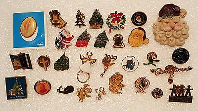 Pin -Pinback -Button -Tie Tack Lot of Christmas - Santa Claus - Angels -Religion