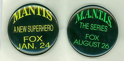"""2 Vintage 1994 M.A.N.T.I.S. """"The Series"""" Advertising Pinback Buttons"""