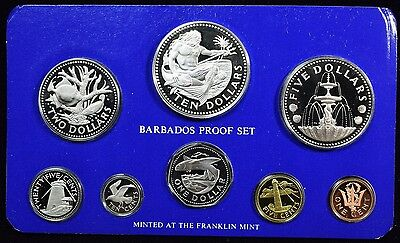 1975 Barbados Proof Set 8 Coin Set - 1.927 Actual Silver Weight