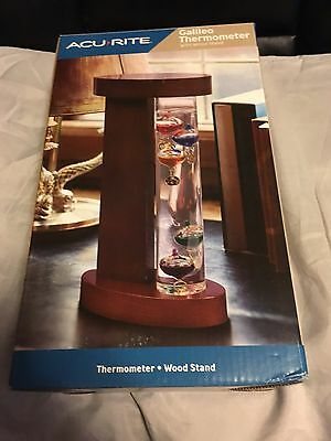 AcuRite Galileo Thermometer with Wood Stand Floating Bulbs New In Box