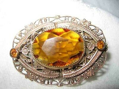Vintage Art Nouveau Czech Cut Glass Topaz Stone Brooch 20s