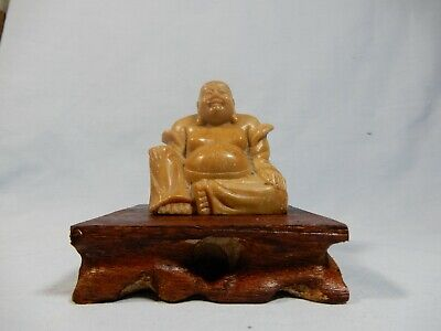 Antique Shoushan hand carved Buddha statue wood stand circa early 1900s retired