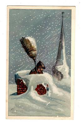1882 R&J GILCHRIST Dry Goods BOSTON MA Calendar Trade Card CHIMNEY SWEEP IN SNOW