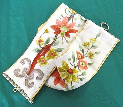 Vintage Elsa William Floral Crewel Embroidery Bell Pull Tapestry Brass Hardware