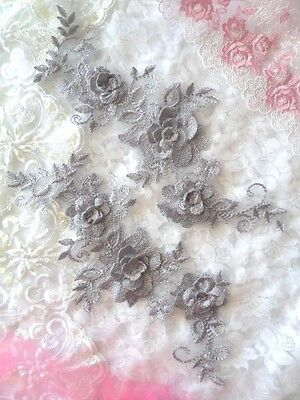DH68 DIY Embroidered 3D Appliques Pewter Silver Floral Lace Mirror Pair 8.25/""