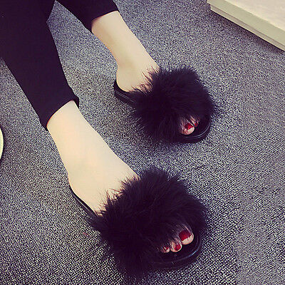 Women's Fur Fluffy Slippers Open Toe Shoes Slides Mules Sandals Feather 2017 NEW
