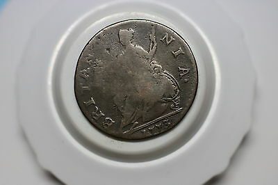 Usa Colonial George Iii Half Penny 1773 Counterstamped A60 #z5157