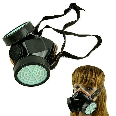Respirator Gas Mask Safety Anti-Dust Chemical Paint Spray Dual Cartridge Black