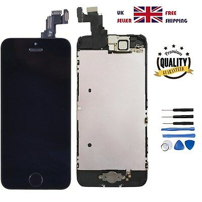 iPhone 5C Black LCD Digitizer Assembly Screen Replacement+Camera+Home Button UK