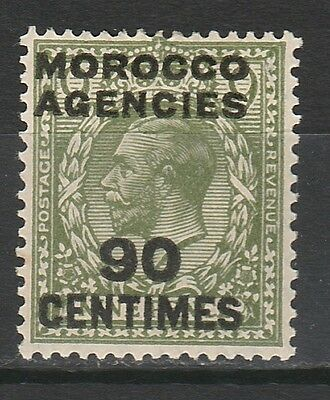 Morocco Agencies French Currency 1925 Kgv 90C Wmk Block Cypher
