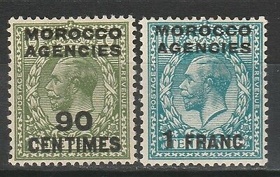 Morocco Agencies French Currency 1925 Kgv 90C And 1Fr Wmk Block Cypher