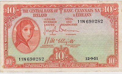 1951 IRELAND P56a TEN SHILLING BANKNOTE IN NEAR VERY FINE CONDITION
