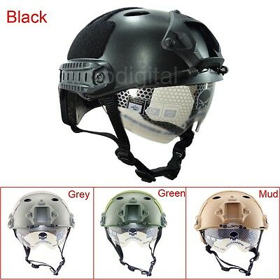 Outdoor Military Airsoft Paintball Tactical Protective Fast Helmet W/Goggle
