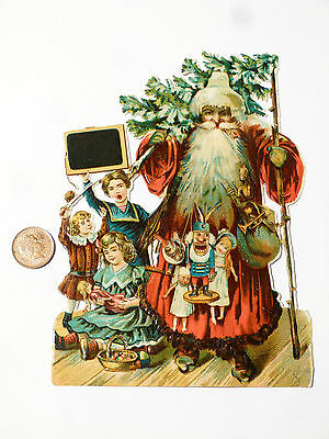 Antique Victorian Scrap for Scrapbook Old Father Christmas Children & Gifts