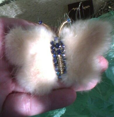 Stunning large 1940's blonde mink and blue crystal set butterfly brooch