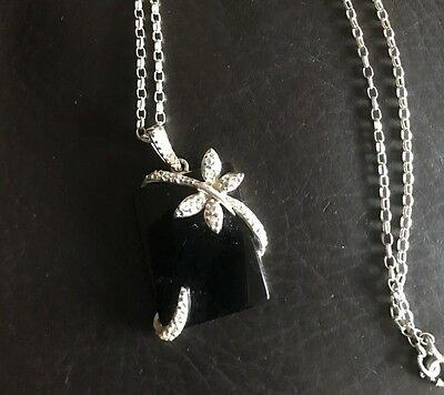 Sterling Silver and Black Onyx Dragonfly Necklace