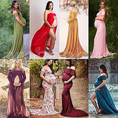 Chiffon Gown Maternity Maxi Dress Wedding Party Dresses Photography Prop Clothes