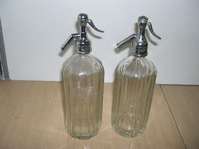 2 X Vintage Retro Etched Glass Soda Syphons, Schweppes & Greens Of Luton, Siphon