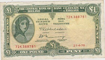 IRELAND P64c LADY LAVERY ONE POUND 1975 BANKNOTE IN VERY FINE CONDITION