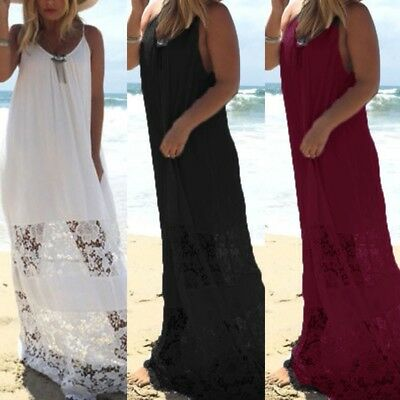 Zanzea Women's Spaghetti Strap Sleeveless Sundress Lace Crochet Long Maxi Dress