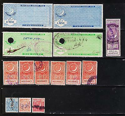 Pakistan 14 Different Cf Revenue Fiscal Stamps #107