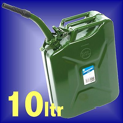 10 LITRE STEEL JERRY CAN 10 ltr 10L metal fuel petrol diesel oil container