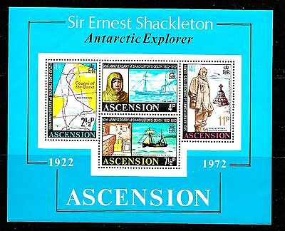 ASCENSION,, 1972, 50th. Anniversary of SHACKLETON's Death, M/Sheet perfect MNH