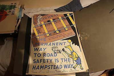 VINTAGE HAMPSTEAD ROAD SAFETY ADVERTSING POSTER ,' 1950s / 60s