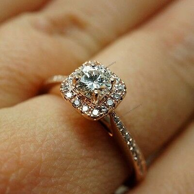 14K Rose Gold Plated Solitaire Square Halo Diamond Women's Engagement Ring 5 6 8