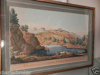 1744 G. Zocchi F Morghen hand coloured / painted etching print. Arno Golfolina