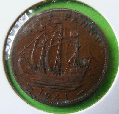 George V Half Penny Coin Minted 1941 - WWII - Lot#5514