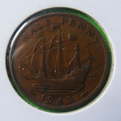 George VI Half Penny Coin Minted 1943 - In Holder - No Reserve - Lot#5218