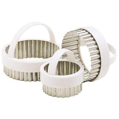 Set Of 3 Stainless Steel Fluted Edge Pastry Pie Cookie Cutting Cutter Set