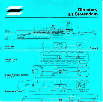 Holland America s.s. Statendam Directory Deck Plan 1972 Vintage Cruise