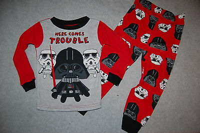 Toddler Boys Pajamas STAR WARS DARTH VADER STORM TROOPERS Red Gray 2T 3T 4T 5T