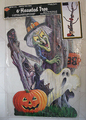 Vintage 1993 Beistle 6' Haunted Tree Jointed Witch Ghost 2 Sided No. 01450 NOS