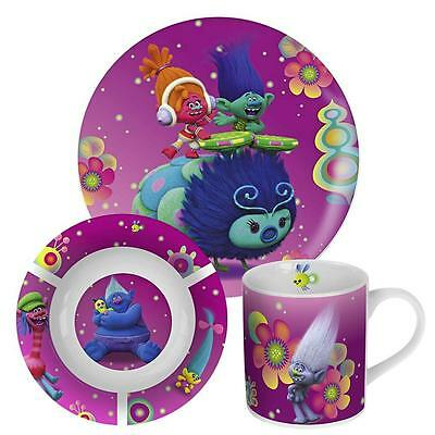 DreamWorks Trolls - Porcelain Kids Dinnerware Set Breakfast (3 pcs)